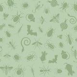 Άνευ ραφής σχέδιο των εικονιδίων με τα έντομα για την επιχείρηση ελέγχου παρασίτων διανυσματική απεικόνιση