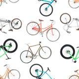 Άνευ ραφής σχέδιο των διαφορετικών ποδηλάτων που απομονώνεται σε ένα λευκό Στοκ Εικόνες