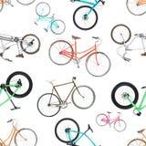 Άνευ ραφής σχέδιο των διαφορετικών ποδηλάτων που απομονώνεται σε ένα λευκό Στοκ εικόνες με δικαίωμα ελεύθερης χρήσης