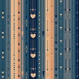 Άνευ ραφής σχέδιο των κάθετων βελών, των καρδιών και των κύκλων χρώματος Στοκ Φωτογραφίες