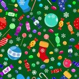 Άνευ ραφής σχέδιο των καραμελών και των συμβόλων Χριστουγέννων Στοκ Εικόνες