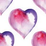 άνευ ραφής σχέδιο των καρδιών, watercolor Στοκ Εικόνες