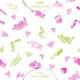 Άνευ ραφής σχέδιο των καλλυντικών Doodle Στοκ Εικόνες