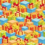 Άνευ ραφής σχέδιο των κιβωτίων με τα δώρα - διακοπές Στοκ φωτογραφία με δικαίωμα ελεύθερης χρήσης