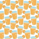 Άνευ ραφής σχέδιο των κινούμενων σχεδίων χυμού από πορτοκάλι Στοκ Φωτογραφίες