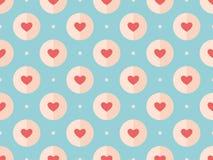 Άνευ ραφής σχέδιο των κόκκινων καρδιών σε ένα τυρκουάζ απεικόνιση αποθεμάτων