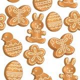 Άνευ ραφής σχέδιο των μπισκότων Πάσχας απεικόνιση αποθεμάτων