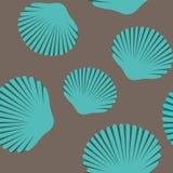 Άνευ ραφής σχέδιο των μπλε θαλασσινών κοχυλιών στοκ εικόνες