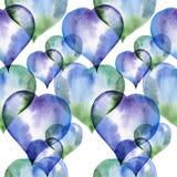 Άνευ ραφής σχέδιο των μπλε και πράσινων καρδιών Στοκ φωτογραφία με δικαίωμα ελεύθερης χρήσης