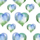 Άνευ ραφής σχέδιο των μπλε και πράσινων καρδιών Valentine& x27 ημέρα του s Wate Στοκ Φωτογραφία