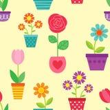 Άνευ ραφής σχέδιο των λουλουδιών στα δοχεία Στοκ Φωτογραφίες