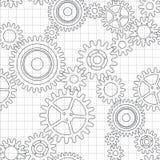 Άνευ ραφής σχέδιο των ροδών εργαλείων διανυσματική απεικόνιση