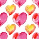 Άνευ ραφής σχέδιο των ρόδινων κόκκινων καρδιών fnd διάνυσμα βαλεντίνων αγάπης απεικόνισης ημέρας ζευγών Waterc Στοκ Φωτογραφία
