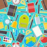 Άνευ ραφής σχέδιο των σχολικών προμηθειών Στοκ Εικόνες