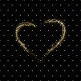 Άνευ ραφής σχέδιο των τυχαίων χρυσών σημείων με τη χρυσή καρδιά σκόνης στο μαύρο υπόβαθρο Κομψό σχέδιο για το υπόβαθρο, κλωστοϋφα Στοκ εικόνα με δικαίωμα ελεύθερης χρήσης