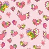 Άνευ ραφής σχέδιο των χαριτωμένων καρδιών doodle Στοκ εικόνα με δικαίωμα ελεύθερης χρήσης