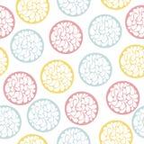 Άνευ ραφής σχέδιο των χρωματισμένων λουλουδιών στους κύκλους Στοκ φωτογραφία με δικαίωμα ελεύθερης χρήσης