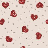 Άνευ ραφής σχέδιο υποβάθρου καρδιών και μαργαριταριών Στοκ Φωτογραφία