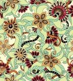 Άνευ ραφής σχέδιο υποβάθρου λουλουδιών αναδρομικό στο διάνυσμα Στοκ Εικόνες