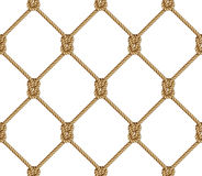 Άνευ ραφής σχέδιο, υπόβαθρο, κίτρινο σχοινί που υφαίνεται στο δίχτυ του ψαρέματος μορφής Στοκ εικόνες με δικαίωμα ελεύθερης χρήσης