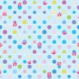 Άνευ ραφής σχέδιο φίλων λουλουδιών πουλιών κύκλων τριγώνων Στοκ εικόνες με δικαίωμα ελεύθερης χρήσης