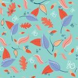 Άνευ ραφής σχέδιο φθινοπώρου με τα φύλλα και τους κλάδους Διανυσματική απεικόνιση