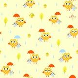 Άνευ ραφής σχέδιο φθινοπώρου ομπρελών κουκουβαγιών διανυσματική απεικόνιση