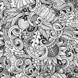 Άνευ ραφής σχέδιο φθινοπώρου doodles κινούμενων σχεδίων χαριτωμένο Στοκ Εικόνες