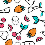 Άνευ ραφής σχέδιο φραουλών και κερασιών επίσης corel σύρετε το διάνυσμα απεικόνισης Στοκ εικόνες με δικαίωμα ελεύθερης χρήσης