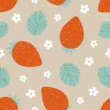 Άνευ ραφής σχέδιο φραουλών στα κόκκινα και πράσινα χρώματα επίσης corel σύρετε το διάνυσμα απεικόνισης Στοκ Φωτογραφία