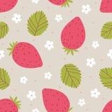 Άνευ ραφής σχέδιο φραουλών στα ρόδινα και πράσινα χρώματα επίσης corel σύρετε το διάνυσμα απεικόνισης Στοκ Εικόνα