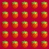 Άνευ ραφής σχέδιο φραουλών στο κόκκινο υπόβαθρο Στοκ Εικόνες