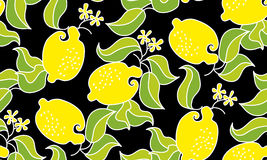 Άνευ ραφής σχέδιο φρούτων λεμονιών στο μαύρο υπόβαθρο διάνυσμα decorat Στοκ Φωτογραφία