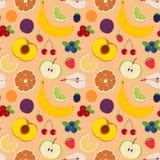 Άνευ ραφής σχέδιο 5 φρούτων και μούρων Στοκ εικόνα με δικαίωμα ελεύθερης χρήσης