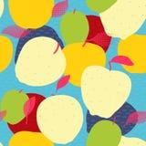 Άνευ ραφής σχέδιο φρούτων της Apple Κόκκινα, πράσινα και χρυσά μήλα με Στοκ Εικόνες