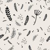 Άνευ ραφής σχέδιο φυτών και φύλλων Στοκ Εικόνα