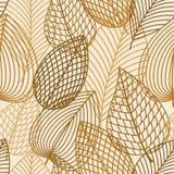 Άνευ ραφής σχέδιο φύλλων φθινοπώρου καφετί και κίτρινο Στοκ Εικόνα