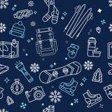 Άνευ ραφής σχέδιο χειμερινής περιπέτειας Στοκ εικόνες με δικαίωμα ελεύθερης χρήσης