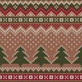 Άνευ ραφής σχέδιο χειμερινών διακοπών στην πλεκτή μαλλί σύσταση Chr Στοκ Φωτογραφία