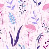 Άνευ ραφής σχέδιο χορταριών και λουλουδιών Στοκ Φωτογραφίες