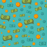 Άνευ ραφής σχέδιο χρημάτων με τα νομίσματα και τα τραπεζογραμμάτια Στοκ Εικόνες