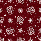 Άνευ ραφής σχέδιο Χριστουγέννων με τα κιβώτια δώρων Στοκ Φωτογραφία