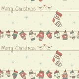 Άνευ ραφής σχέδιο Χριστουγέννων με τα πουλιά, κάλτσες mitte Στοκ φωτογραφία με δικαίωμα ελεύθερης χρήσης