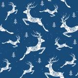 Άνευ ραφής σχέδιο Χριστουγέννων με τα deers Deers η διαγώνια βελονιά διακοσμητικό πρότυπο Στοκ Εικόνα