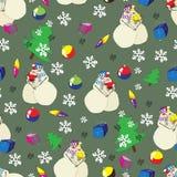 Άνευ ραφής σχέδιο Χριστουγέννων με τους χιονανθρώπους Στοκ Εικόνα