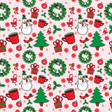 Άνευ ραφής σχέδιο Χριστουγέννων με το χιονάνθρωπο Στοκ Εικόνες