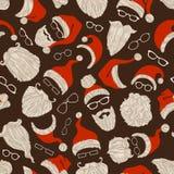 Άνευ ραφής σχέδιο Χριστουγέννων των καπέλων, των γενειάδων και eyeglasses Santa Στοκ Εικόνα