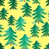 Άνευ ραφής σχέδιο χριστουγεννιάτικων δέντρων Watercolor Τοπίο χειμερινού watercolor Χριστουγεννιάτικο δέντρο Watercolor αφηρημένο Στοκ Φωτογραφία