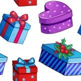Άνευ ραφής σχέδιο χριστουγεννιάτικων δώρων ύφους κινούμενων σχεδίων Στοκ φωτογραφία με δικαίωμα ελεύθερης χρήσης