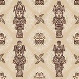 Άνευ ραφής σχέδιο χρώματος από τα διακοσμητικά στοιχεία βασισμένα στα κίνητρα του αμερικανού ιθαγενούς Ινδός τέχνης απεικόνιση αποθεμάτων